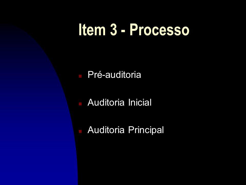 Item 3 - Processo n Pré-auditoria n Auditoria Inicial n Auditoria Principal