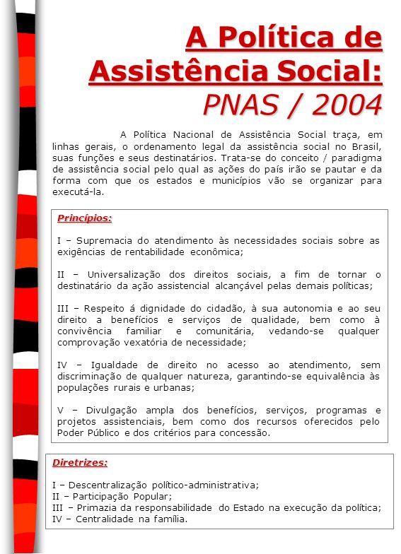 A Política de Assistência Social: PNAS / 2004 A Política Nacional de Assistência Social traça, em linhas gerais, o ordenamento legal da assistência so