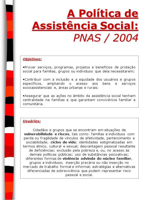 A Política de Assistência Social: PNAS / 2004 Objetivos: Prover serviços, programas, projetos e benefícios de proteção social para famílias, grupos ou
