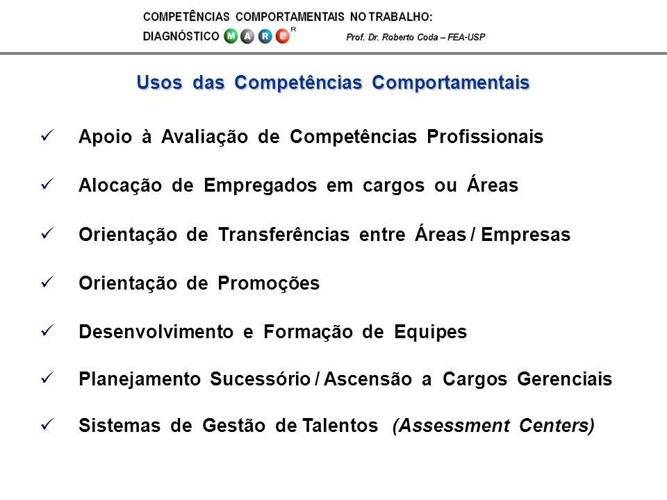 Apoio à Avaliação de Competências Profissionais Alocação de Empregados em cargos ou Áreas Orientação de Transferências entre Áreas / Empresas Orientaç