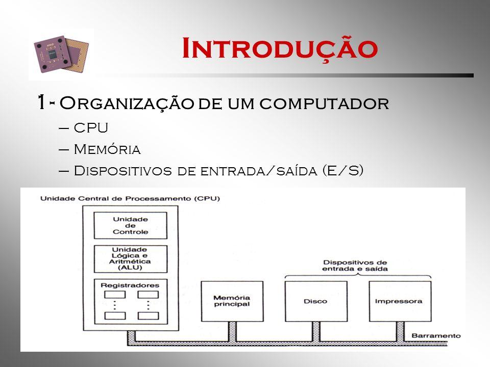Introdução 1.1- CPU Tem função de: –Buscar instruções da memória.