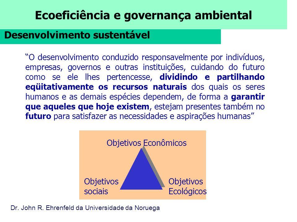 Ecoeficiência e governança ambiental O desenvolvimento conduzido responsavelmente por indivíduos, empresas, governos e outras instituições, cuidando d