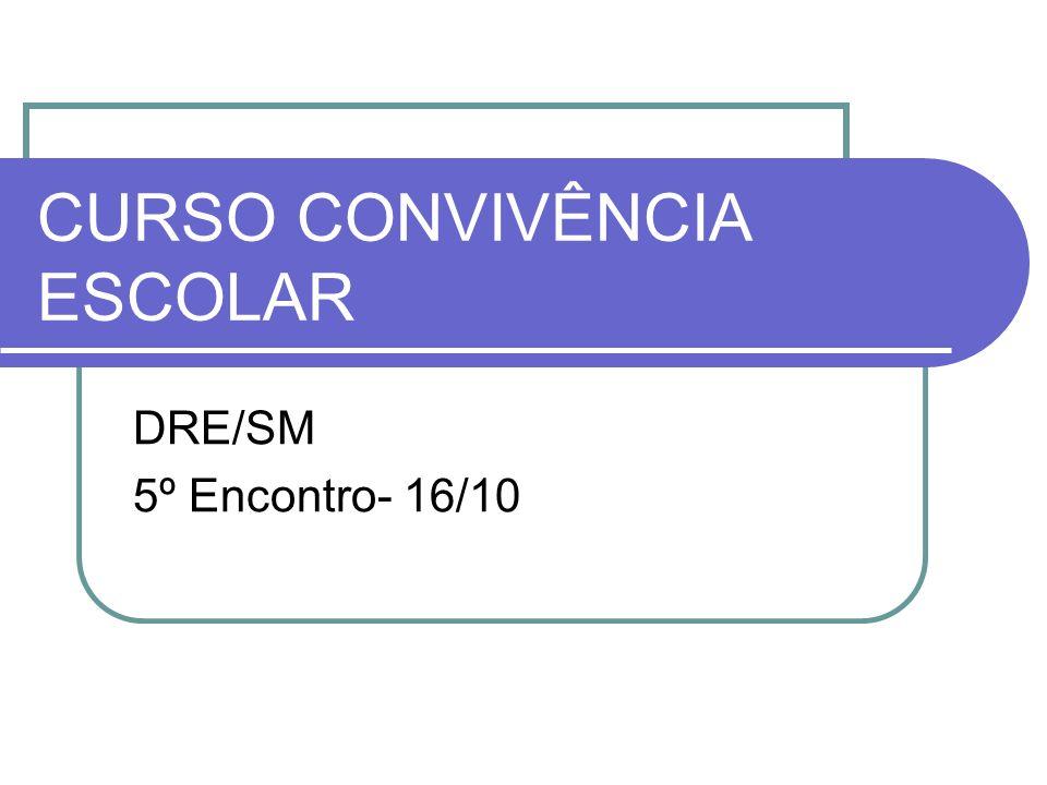 CURSO CONVIVÊNCIA ESCOLAR DRE/SM 5º Encontro- 16/10