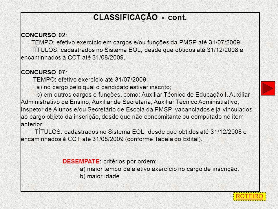 CLASSIFICAÇÃO A classificação do candidato será resultante do somatório de pontos em ordem decrescente, obtidos de acordo com as tabelas anexas ao Edi