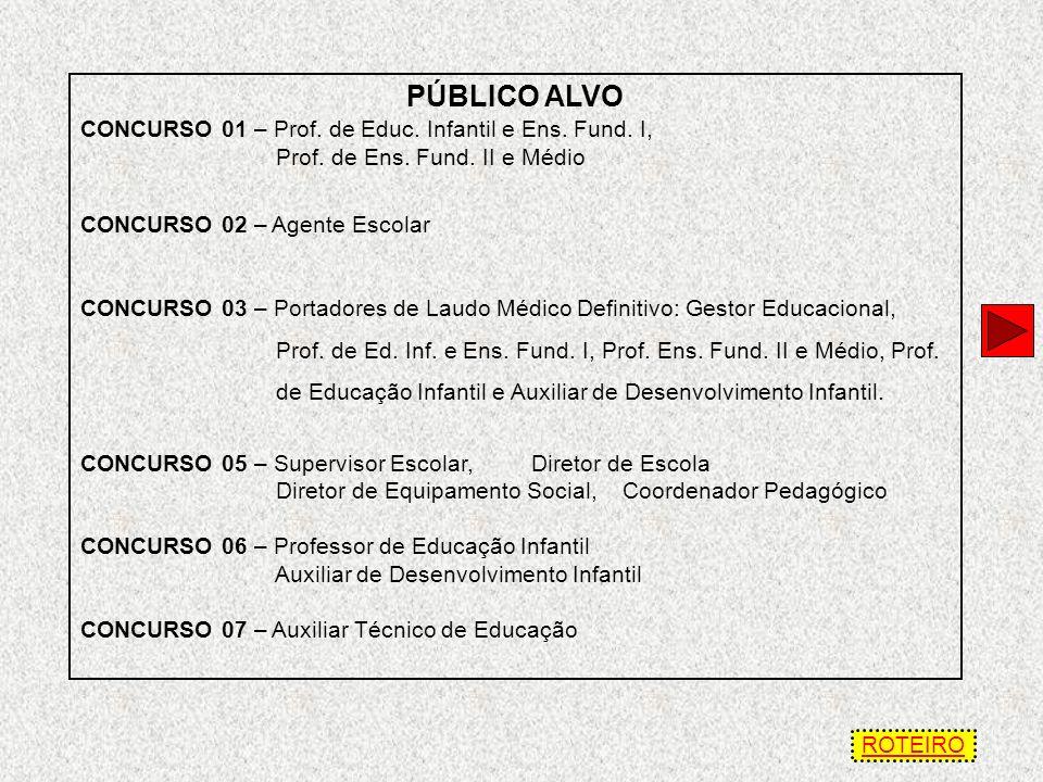 PÚBLICO ALVO CONCURSO 01 – Prof.de Educ. Infantil e Ens.