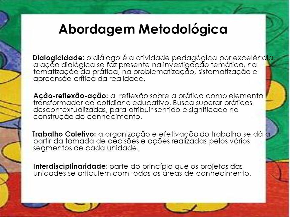 Abordagem Metodológica Dialogicidade : o diálogo é a atividade pedagógica por excelência; a ação dialógica se faz presente na investigação temática, n