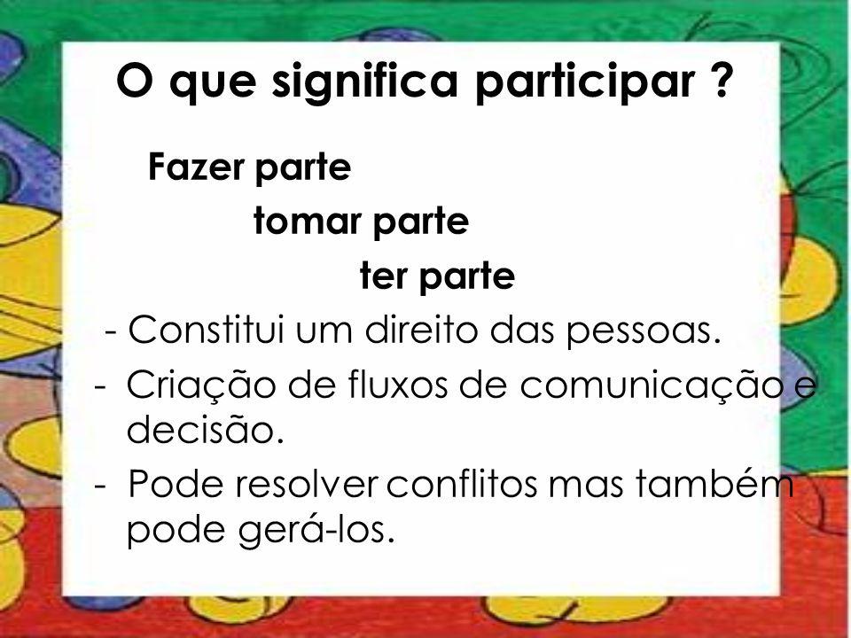 O que significa participar ? Fazer parte tomar parte ter parte - Constitui um direito das pessoas. -Criação de fluxos de comunicação e decisão. - Pode