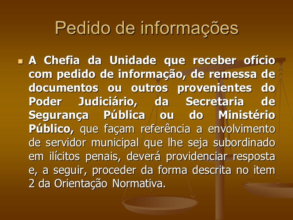 A Chefia da Unidade que, através da imprensa ou por qualquer outro meio, tiver ciência de envolvimento de servidor que lhe seja subordinado em inquéri