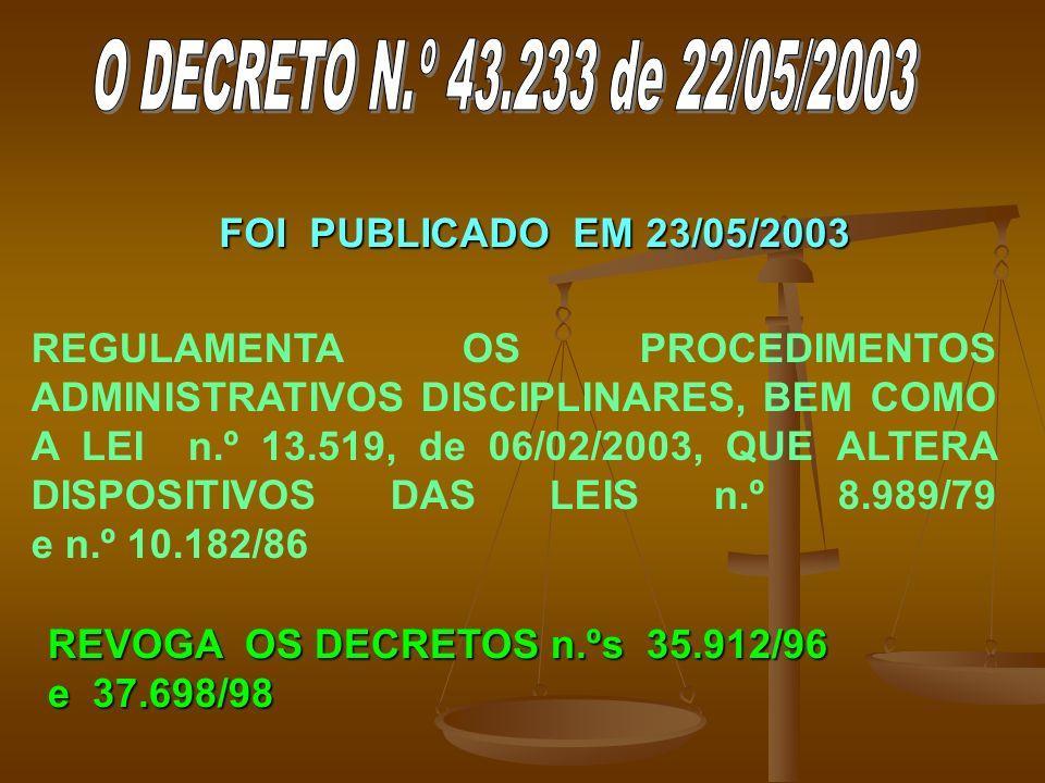 FOI PUBLICADO EM 23/05/2003 REGULAMENTA OS PROCEDIMENTOS ADMINISTRATIVOS DISCIPLINARES, BEM COMO A LEI n.º 13.519, de 06/02/2003, QUE ALTERA DISPOSITIVOS DAS LEIS n.º 8.989/79 e n.º 10.182/86 REVOGA OS DECRETOS n.ºs 35.912/96 e 37.698/98