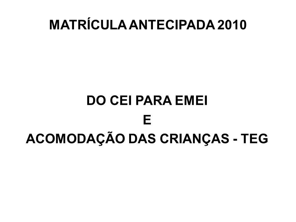 MATRÍCULA ANTECIPADA 2010 DO CEI PARA EMEI E ACOMODAÇÃO DAS CRIANÇAS - TEG