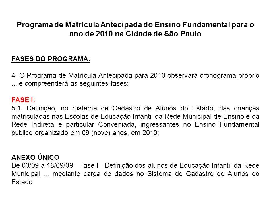 Programa de Matrícula Antecipada do Ensino Fundamental para o ano de 2010 na Cidade de São Paulo FASES DO PROGRAMA: 4. O Programa de Matrícula Antecip