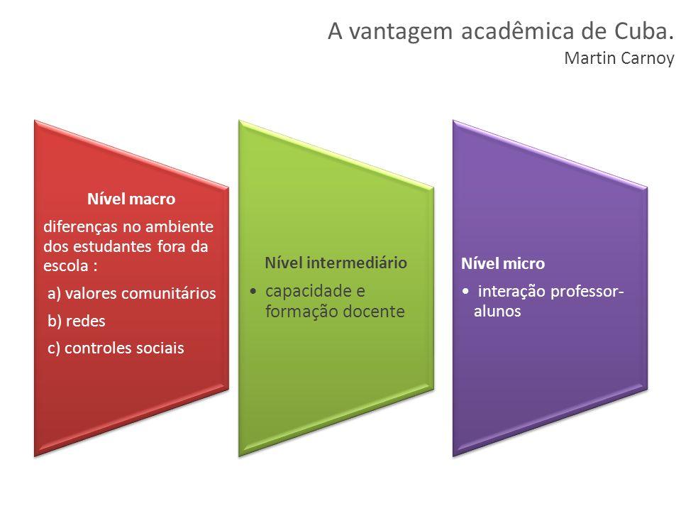 Nível macro diferenças no ambiente dos estudantes fora da escola : a) valores comunitários b) redes c) controles sociais Nível intermediário capacidad