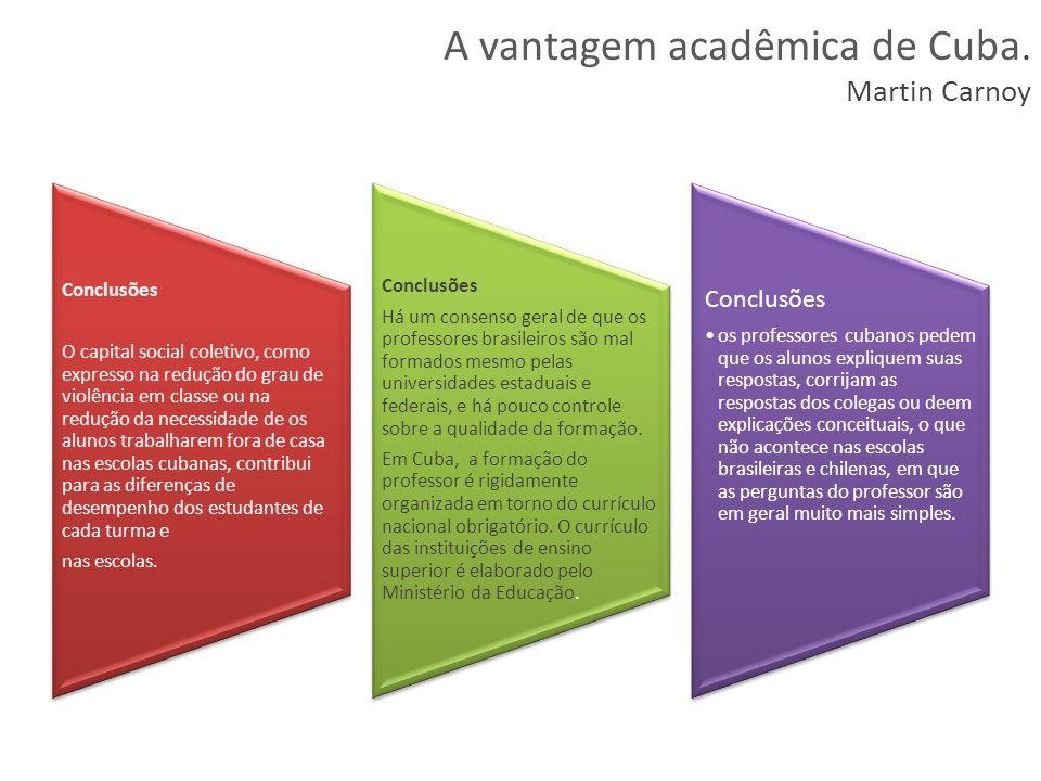 Conclusões O capital social coletivo, como expresso na redução do grau de violência em classe ou na redução da necessidade de os alunos trabalharem fo