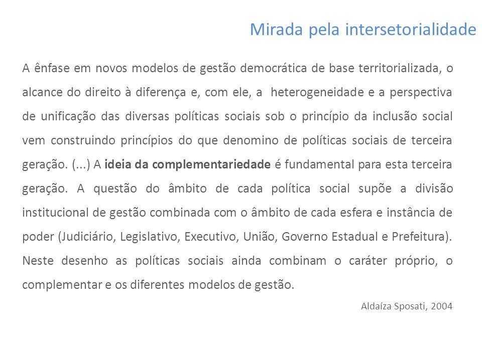 A ênfase em novos modelos de gestão democrática de base territorializada, o alcance do direito à diferença e, com ele, a heterogeneidade e a perspecti