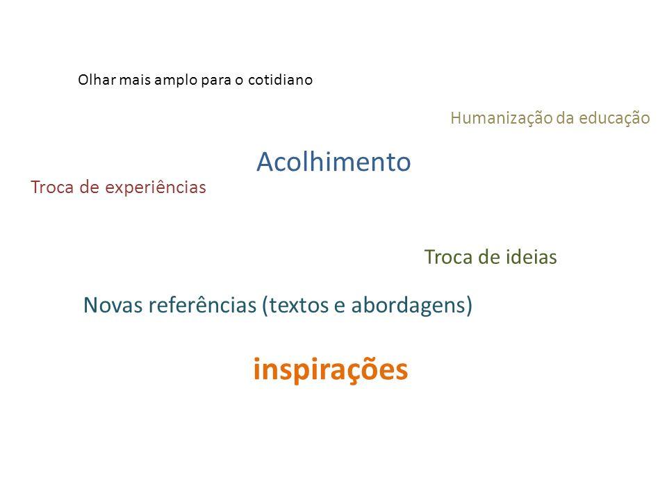 inspirações Olhar mais amplo para o cotidiano Acolhimento Troca de ideias Humanização da educação Troca de experiências Novas referências (textos e ab
