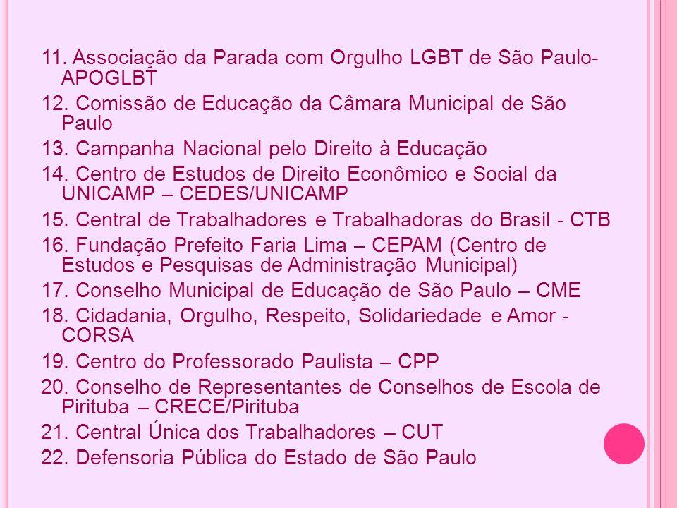 11. Associação da Parada com Orgulho LGBT de São Paulo- APOGLBT 12. Comissão de Educação da Câmara Municipal de São Paulo 13. Campanha Nacional pelo D