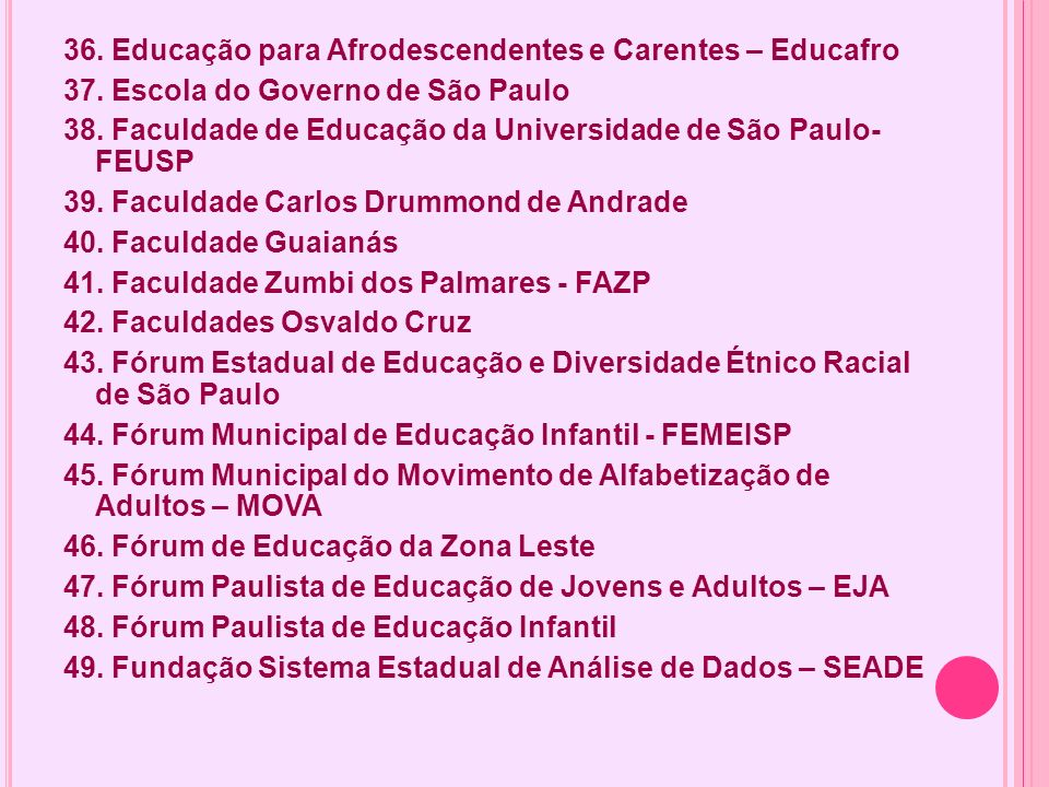 36. Educação para Afrodescendentes e Carentes – Educafro 37. Escola do Governo de São Paulo 38. Faculdade de Educação da Universidade de São Paulo- FE