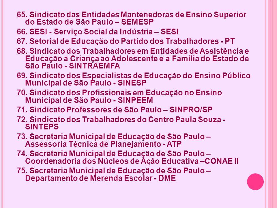 65. Sindicato das Entidades Mantenedoras de Ensino Superior do Estado de São Paulo – SEMESP 66. SESI - Serviço Social da Indústria – SESI 67. Setorial