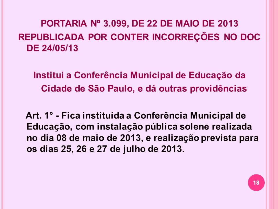 PORTARIA Nº 3.099, DE 22 DE MAIO DE 2013 REPUBLICADA POR CONTER INCORREÇÕES NO DOC DE 24/05/13 Institui a Conferência Municipal de Educação da Cidade