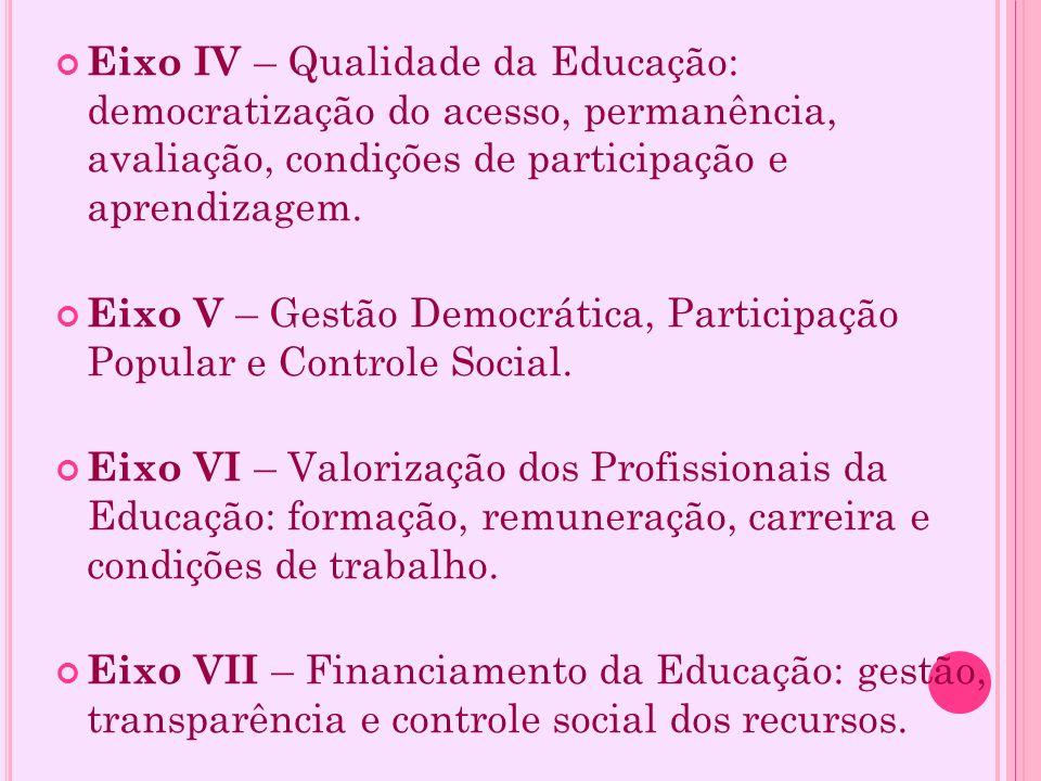 Eixo IV – Qualidade da Educação: democratização do acesso, permanência, avaliação, condições de participação e aprendizagem. Eixo V – Gestão Democráti