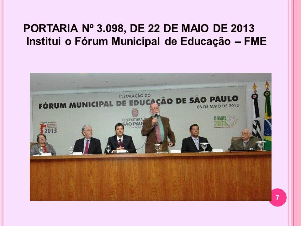 A Secretaria Municipal de Educação de São Paulo promoveu no dia 8 de maio de 2013, a instalação do Fórum Municipal de Educação, que coordenará as Conferências Municipais de Educação para o debate das questões educacionais da cidade de São Paulo visando a Conferência Nacional de Educação – CONAE 2014.