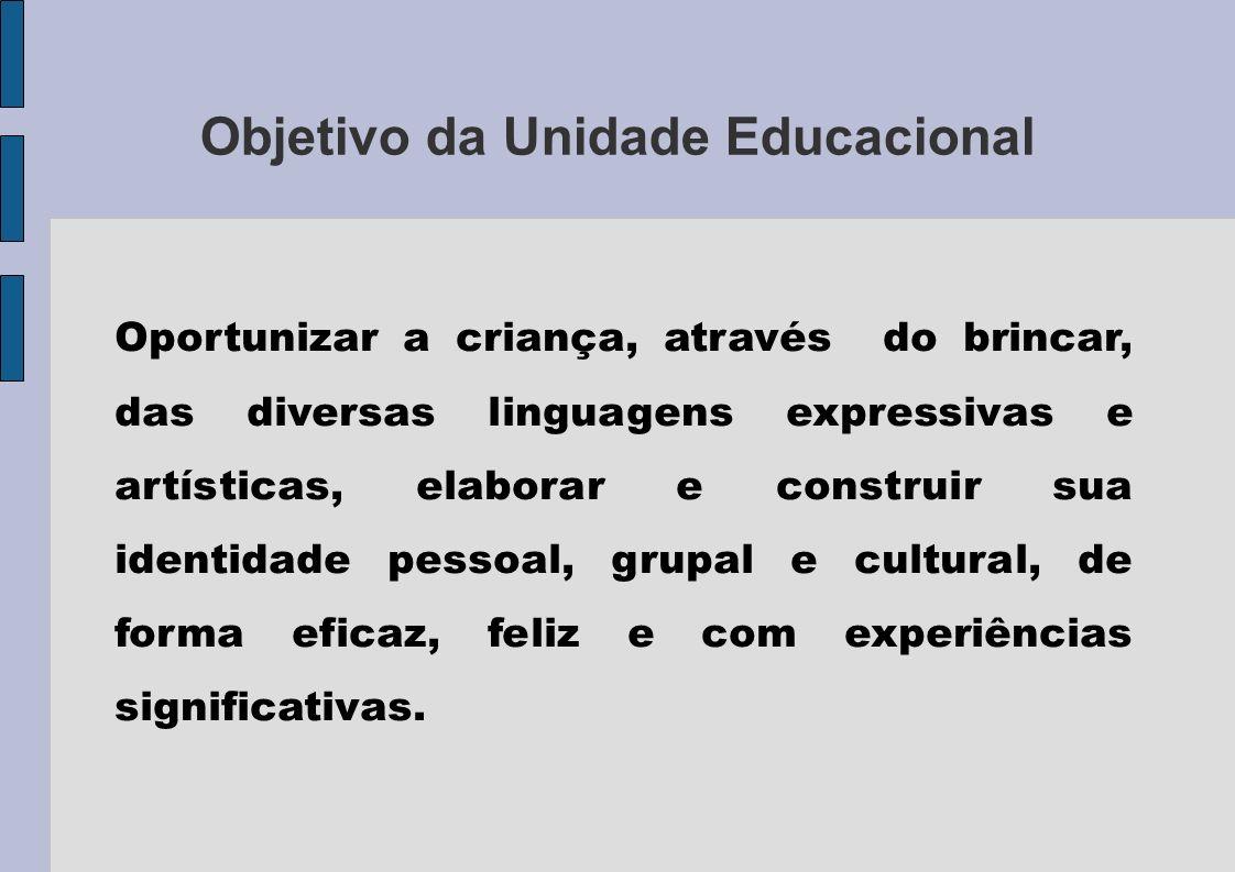 Objetivo da Unidade Educacional Oportunizar a criança, através do brincar, das diversas linguagens expressivas e artísticas, elaborar e construir sua