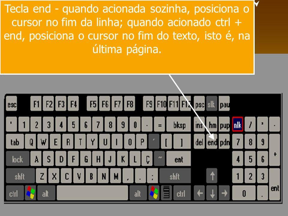 Tecla end - quando acionada sozinha, posiciona o cursor no fim da linha; quando acionado ctrl + end, posiciona o cursor no fim do texto, isto é, na úl