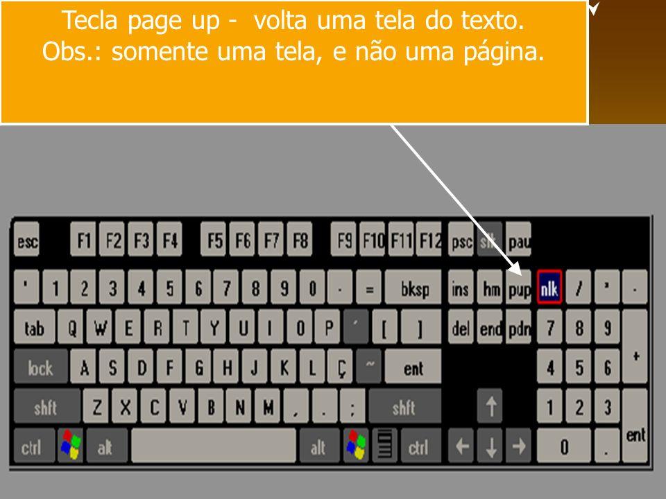 Tecla page up - volta uma tela do texto. Obs.: somente uma tela, e não uma página.