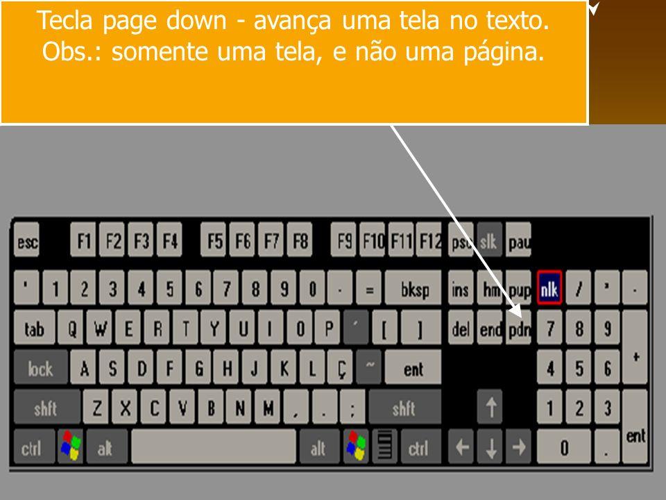 Tecla page down - avança uma tela no texto. Obs.: somente uma tela, e não uma página.