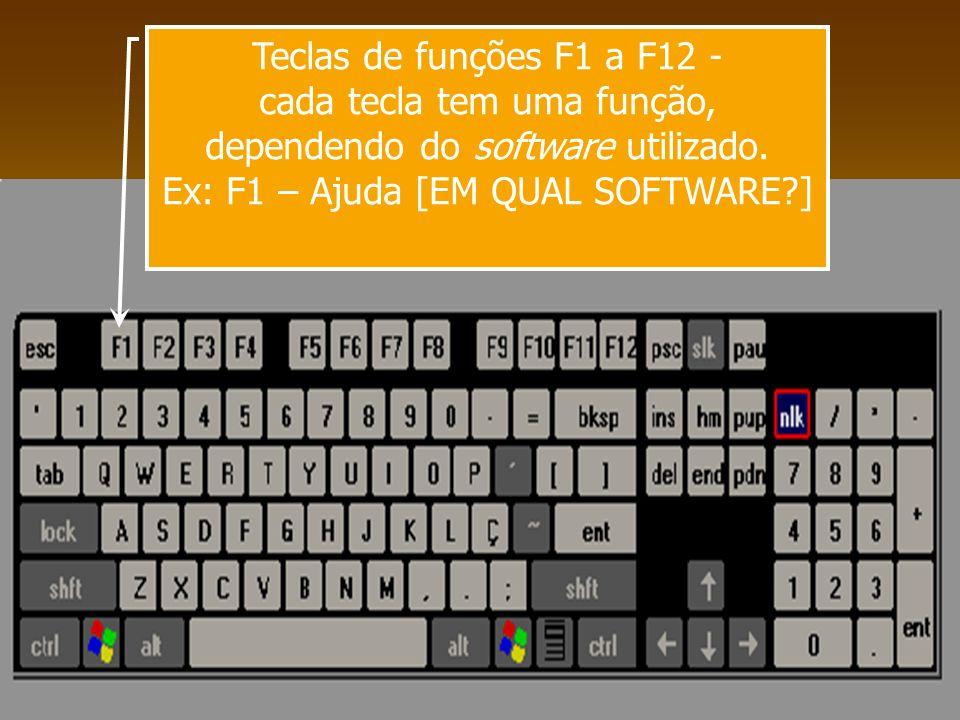 Teclas de funções F1 a F12 - cada tecla tem uma função, dependendo do software utilizado. Ex: F1 – Ajuda [EM QUAL SOFTWARE?]