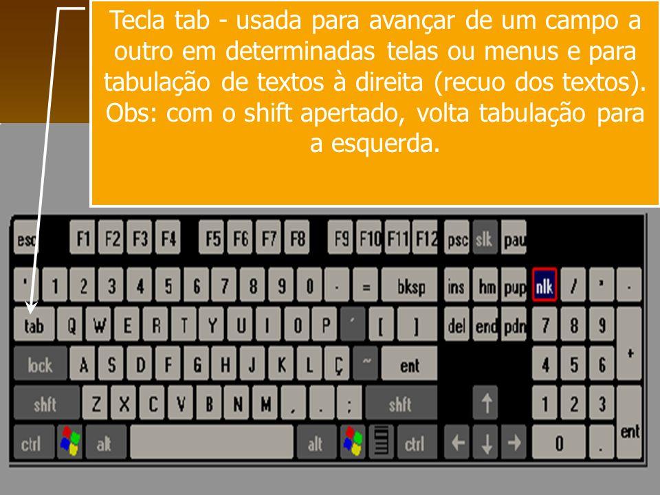 Tecla tab - usada para avançar de um campo a outro em determinadas telas ou menus e para tabulação de textos à direita (recuo dos textos). Obs: com o
