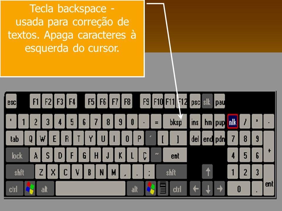 Tecla numlock – ativa o teclado numérico.