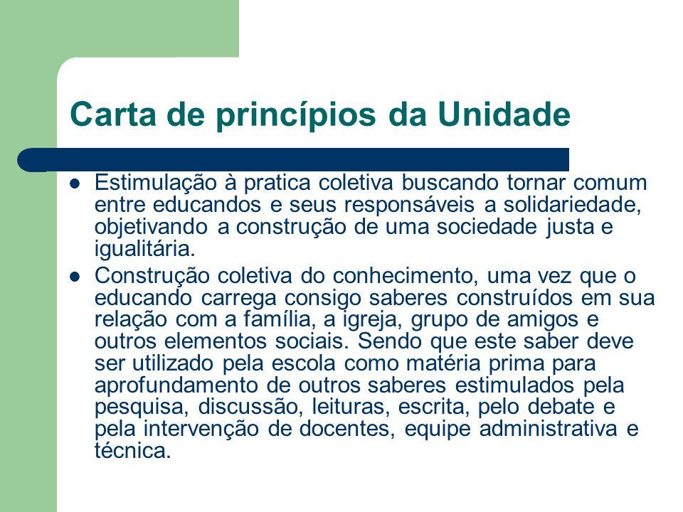Carta de princípios da Unidade Estimulação à pratica coletiva buscando tornar comum entre educandos e seus responsáveis a solidariedade, objetivando a