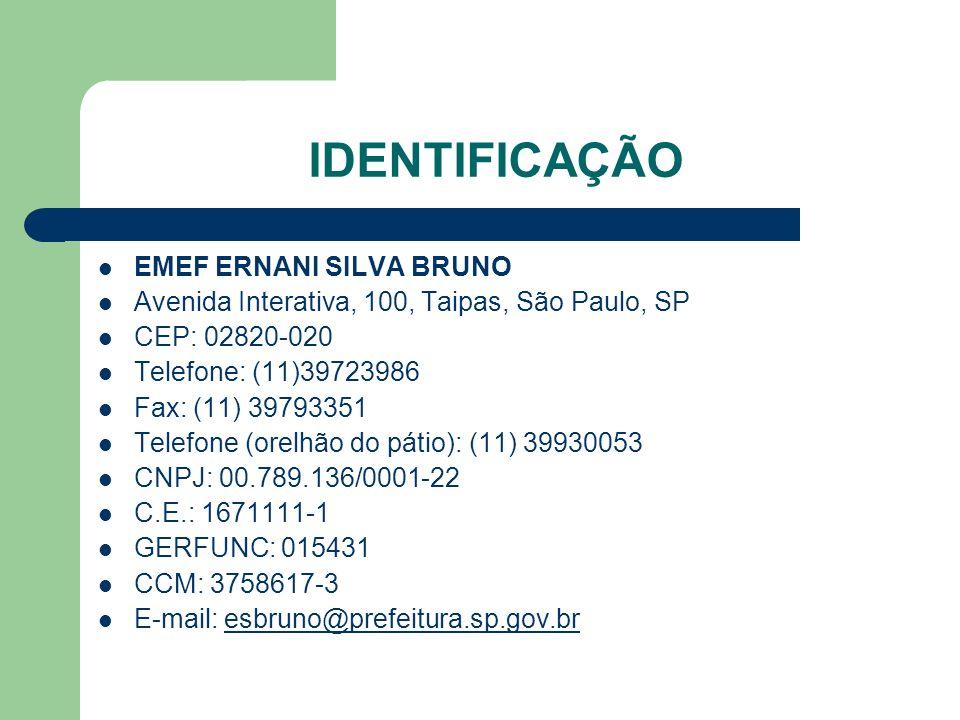 IDENTIFICAÇÃO EMEF ERNANI SILVA BRUNO Avenida Interativa, 100, Taipas, São Paulo, SP CEP: 02820-020 Telefone: (11)39723986 Fax: (11) 39793351 Telefone