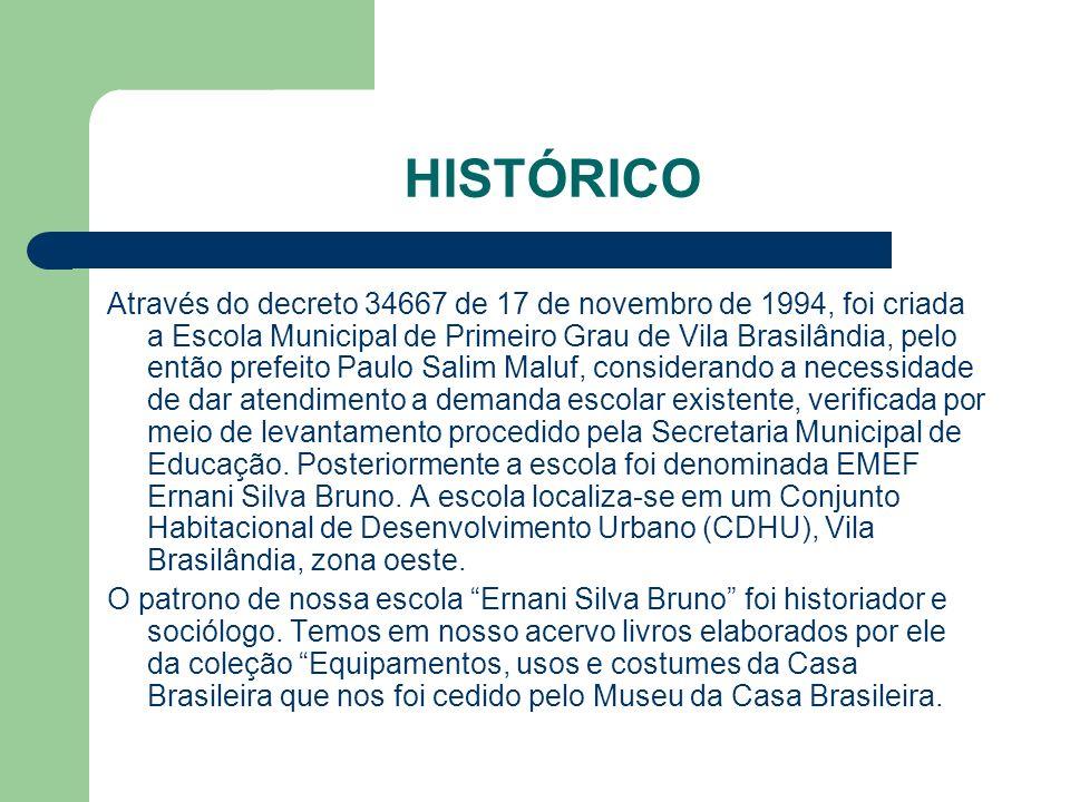 HISTÓRICO Através do decreto 34667 de 17 de novembro de 1994, foi criada a Escola Municipal de Primeiro Grau de Vila Brasilândia, pelo então prefeito