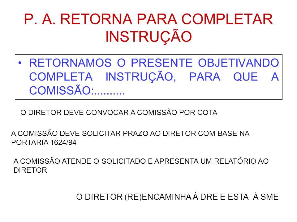RESPONSABILIDADES ESCOLADRES.M.E. DIRETOR COMISSÃO ASSIST TÉC ASSIST TÉC/JUR SECR DA ED R. O. SOLIC AUT AUT. DO P. A. OF DP OF AS TÉCN MEMO (SME) CUMP