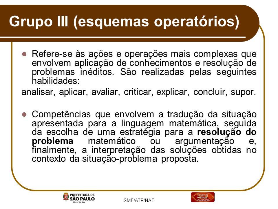 Grupo III (esquemas operatórios) Refere-se às ações e operações mais complexas que envolvem aplicação de conhecimentos e resolução de problemas inédit