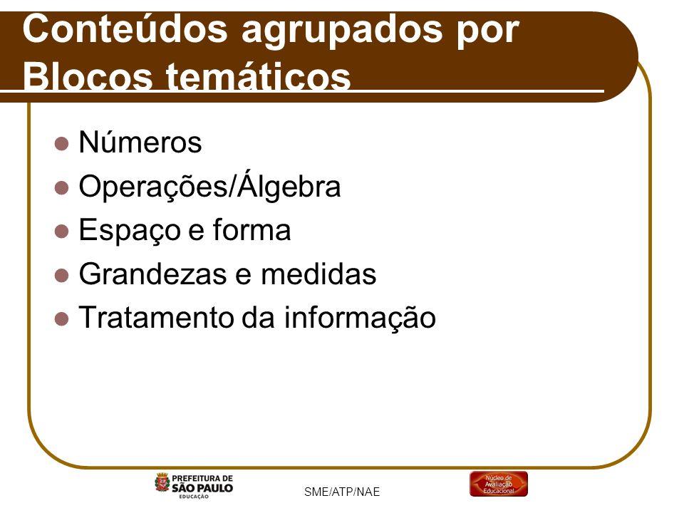Números Operações/Álgebra Espaço e forma Grandezas e medidas Tratamento da informação Conteúdos agrupados por Blocos temáticos SME/ATP/NAE