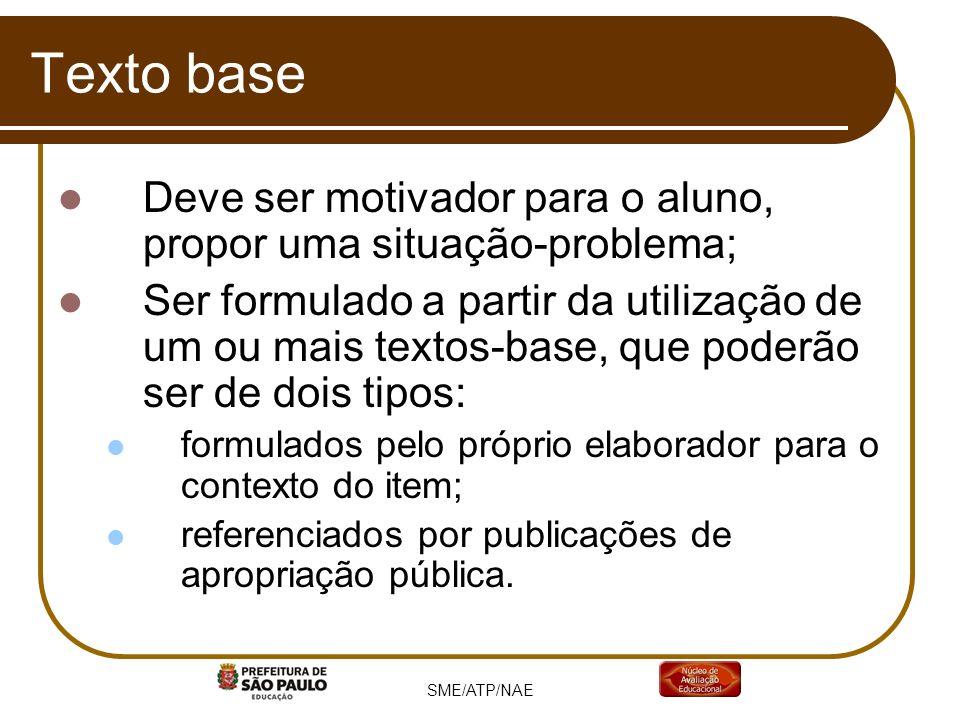 SME/ATP/NAE Texto base Deve ser motivador para o aluno, propor uma situação-problema; Ser formulado a partir da utilização de um ou mais textos-base,
