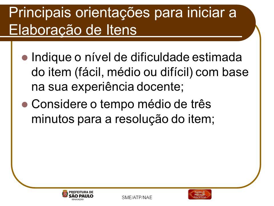 Indique o nível de dificuldade estimada do item (fácil, médio ou difícil) com base na sua experiência docente; Considere o tempo médio de três minutos