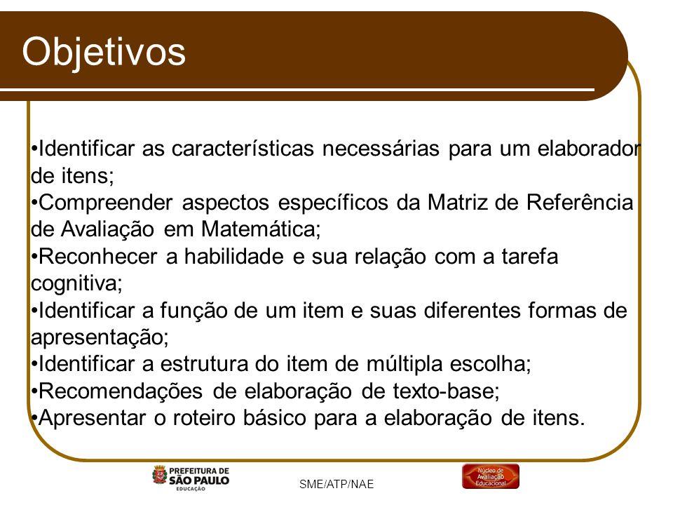 Objetivos Identificar as características necessárias para um elaborador de itens; Compreender aspectos específicos da Matriz de Referência de Avaliaçã