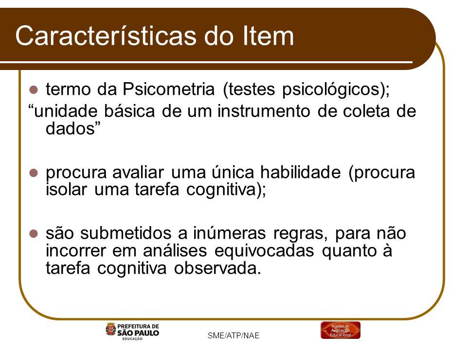 SME/ATP/NAE Características do Item termo da Psicometria (testes psicológicos); unidade básica de um instrumento de coleta de dados procura avaliar um