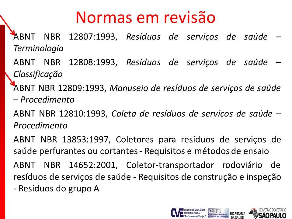 Normas em revisão ABNT NBR 12807:1993, Resíduos de serviços de saúde – Terminologia ABNT NBR 12808:1993, Resíduos de serviços de saúde – Classificação