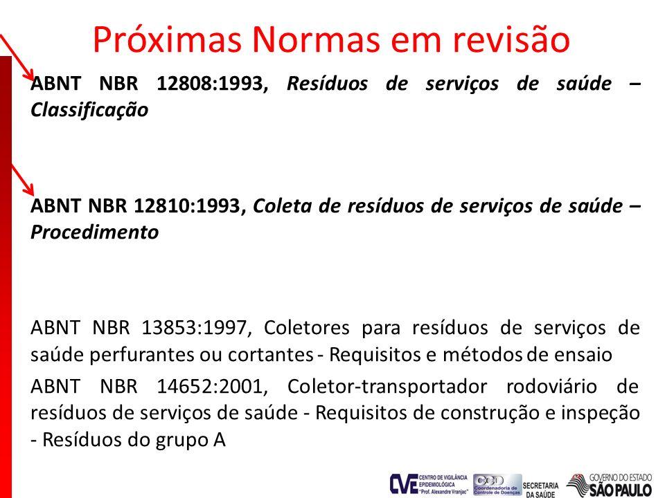Próximas Normas em revisão ABNT NBR 12808:1993, Resíduos de serviços de saúde – Classificação ABNT NBR 12810:1993, Coleta de resíduos de serviços de s