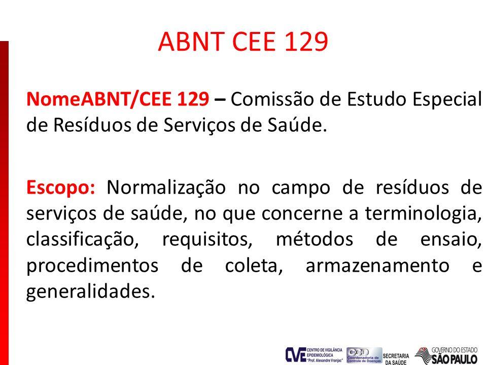 ABNT CEE 129 NomeABNT/CEE 129 – Comissão de Estudo Especial de Resíduos de Serviços de Saúde. Escopo: Normalização no campo de resíduos de serviços de