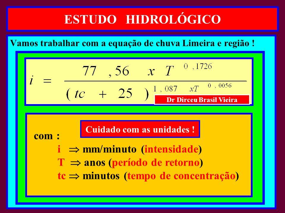 ESTUDO HIDROLÓGICO Vamos trabalhar com a equação de chuva Limeira e região .