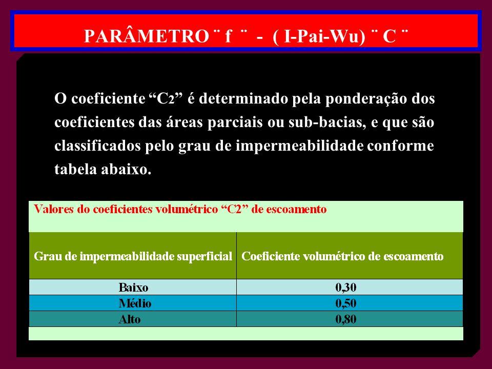 O coeficiente C 2 é determinado pela ponderação dos coeficientes das áreas parciais ou sub-bacias, e que são classificados pelo grau de impermeabilidade conforme tabela abaixo.
