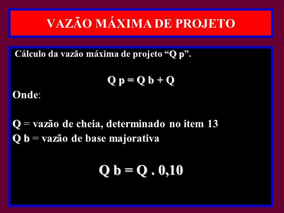 VAZÃO MÁXIMA DE PROJETO Q p Cálculo da vazão máxima de projeto Q p.