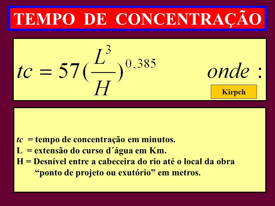 tc = tempo de concentração em minutos.L = extensão do curso d´água em Km.