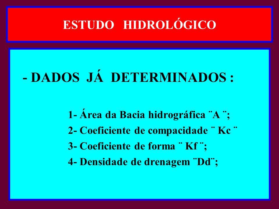 ESTUDO HIDROLÓGICO - DADOS JÁ DETERMINADOS : 1- Área da Bacia hidrográfica ¨A ¨; 2- Coeficiente de compacidade ¨ Kc ¨ 3- Coeficiente de forma ¨ Kf ¨; 4- Densidade de drenagem ¨Dd¨;